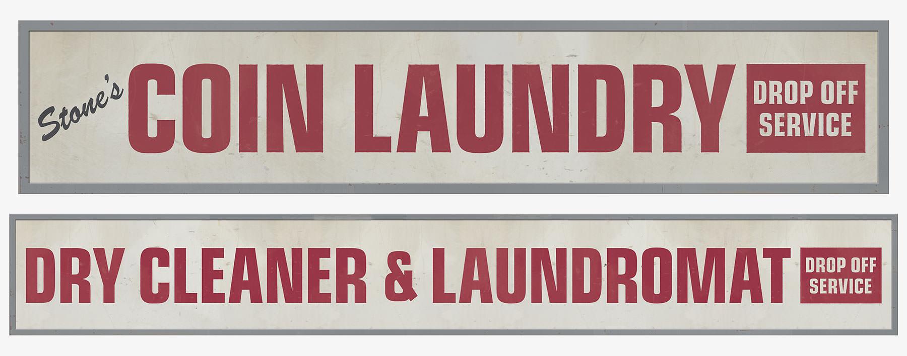 Biscuit Toyota Laundromat Set Signage